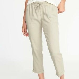 Old Navy Mid-Rise Linen-Blend Cropped Pants Women'